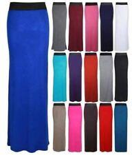Womens Gypsy Long Jersey Maxi Dress Skirt Ladies Plain Celeb HIGH WAISTED Boho