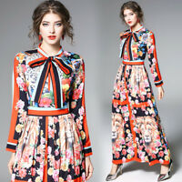 New Womens Long Sleeve Floral Printed Full Long Ball Gown Slim Fit Pleated Dress