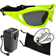 SeaSpecs Stealth Neon Green Yellow Kite Surf Sunglasses + Water Proof Hard Case