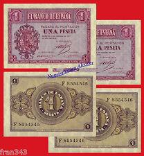 Pareja billetes 1 peseta año 1937  Burgos   SC  /  SPAIN Pair of  Pick 104  aUNC