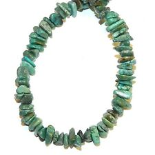 "T1916fc Blue-Green Turquoise w Matrix Small 5mm - 9mm Gemstone Chip Beads 15"""
