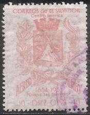 El Salvador Air Post Stamp - Scott #C179/A180 10c Pink Canc/LH 1957