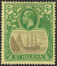 St Helena 1927 KGV 5sh Grey and Green on Yellow Mint SG110 cat £45