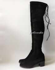 NEW Stuart Weitzman Elevated Suede Over the Knee boot Shoe, Black ~9.5M