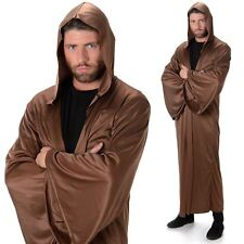 Adult Brown Hooded Robe Fancy Dress Costume Medieval Cloak Mens Outfit