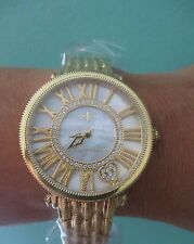 Judith Ripka Stain-Steel Gold and White London Watch NEW Battry Sz Large Gift Bx