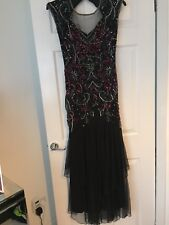 Miss Selfridge Embellished Beaded Sequin Maxi Dress Size 10 Black Gatsby Xmas