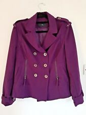Dorothy Perkins Women's Plum Winter Jacket Size 14. Double Breasted Wool Blend