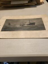 Antique Photo S.S. Edwin Christenson Off Cape Hatteras 8.75 X 4