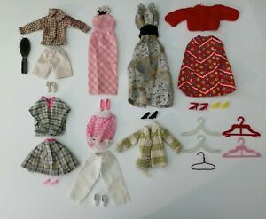 Vintage 1960s/70s Barbie Clothes With Shoes, Hangers, And Brush Lot