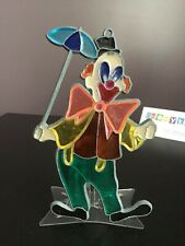 "Vintage 5"" Stained Glass Clown with Umbrella Sun Catcher"