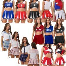 Sexy Women Cheerleader Costume Cosplay Sleeveless Crop Top Mini Skirt Outfit Set