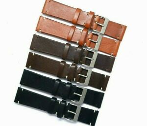 22mm Black or Brown Genuine Leather Classic Watch Band Handmade Silver Buckle