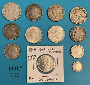 Foreign Silver Coins,Lot of 12,Lot #557, Austria,Poland,Panama,New Zealand &more