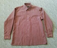 EUC Bugatchi Uomo Brown Red Yellow Striped Mens Large Button Down Dress Shirt