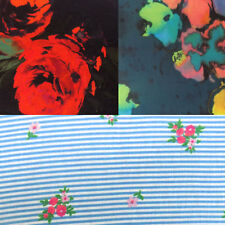 Floral Printed Jersey Stretch Dressmaking Fabric, Grey, Blue, Black, Red Flowers