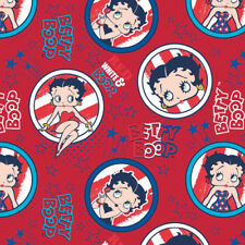 Camelot Betty Boop RED, WHITE & BOOP - USA Patriotic Circle Badge Fabric - Red