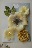 LEMON SHERBET All Fabric Mixed 5 Flowers 40-80mm across 3 Leaves Green Tara