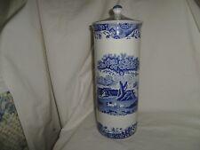 Rare SPODE Blue Italian Tall Pasta Jar with Lid