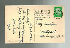 1933 Stuttgart Germany Postcard Cover War Victims are First Citizens of State