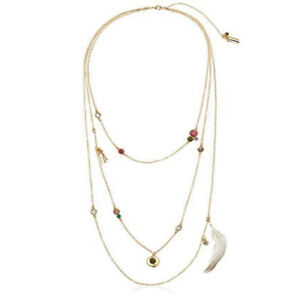 """NWT Danielle Nicole Gold Charm Fine Feather Layer 3-Strand Necklace 28"""" Long"""