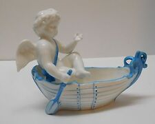 Angel Cherub Rowing Boat Figurine Trinket Dish Nautical Décor Blue and White