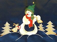 """Mitteldecke d.blau Weihnachtsmotiv """"Schneemann&Tannenbaum""""Durchbruch 85cm x 85cm"""