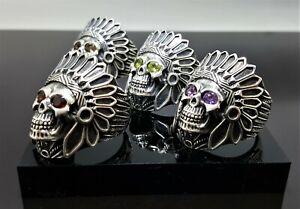 Skull Tribal Chief Warrior Sterling Silver 925 Ring Grand Cherokee Amethyst