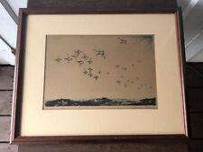Original Churchill Ettinger Signed Sporting Art Duck Etching-Broadbill in a Blow
