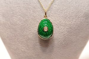 ANTIQUE STYLE NEW MADE ENAMEL AND DIAMOND 14K GOLD  EGG STYLE PRETTY NECKLACE