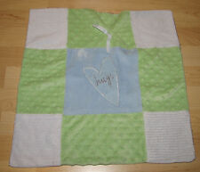 Messages From The Heart Hugs Blue Green White Minky Patch Security Blanket Lovey