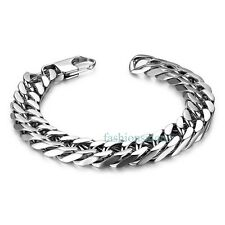 Fashion 12mm Silver-tone Stainless Steel Men's Boy's Wide Chain Bracelets