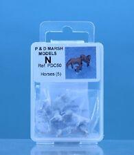 P & Prof Marsh PDC50 Chevaux (5) 'N' Échelle non Peint Métal Blanc Kit Neuf