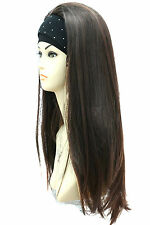 3/4 Wig Half Wigs Beautiful Dark Brown with Hints of Copper Mix. Vogue Wigs UK