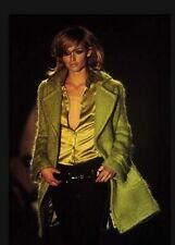 Vintage Gucci Tom Ford Green Mohair Fur 90s Runway Double Breast Coat Jacket 6