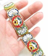 """Vintage Italian Italy Micro Mosaic Glass Tile Floral Link 21mm Wide 8"""" Bracelet"""