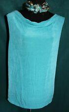MIRASOL Turquoise Slinky Draped Front Tank Top Sleeveless Travel Knit Sz L Slits