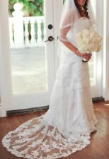 Moonlight Bridal Ivory Wedding Dress. Style H9807. Size 6. A-line. Satin. Lace