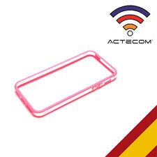 BUMPER ROSA-TRANS PARA IPHONE 4 4S BOTONES METALICO + PROTECTOR DE PANTALLA