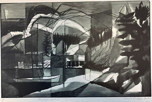"Color Wood Engraving & Woodcut 1961 ""Mohegan Island"" - Bernard Brussel-Smith"