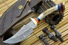 Custom Damascus Steel Hunting Knife Handmade With Stag Horn Handle (Z233)