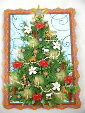Punch Studio Set 10 Die Cut Victorian Christmas Tree Toys Christmas Note Cards