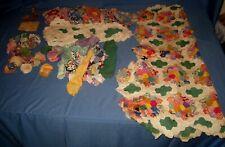 VTG Lot 128 + Quilt Blocks Material Grandmother's Flower Garden Feed/Flour Sack