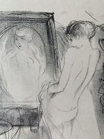Marcel Vertes Gravure Lithographie Étude De Femme Madame Chez Le Portraitiste