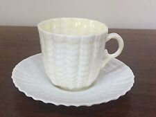 Belleek Pottery TRIDACNA YELLOW Flat Demitasse Cup & Saucer Set ~ Ireland