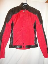 Hein Gericke Leather Motorcycle Jacket Size S Black Red Zip front