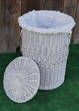 Lidded LINED Wicker willow Laundry Bin Storage Basket H 29'' D 21'' LARGE WHITE