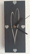 Slate Wall Clock Small Heart Design - Laser Engraved Face - Quartz Movement