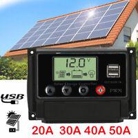 Dual USB Solar Panel Regulator Charge Controller USB 20A 30A 40A 50A 12V-24V