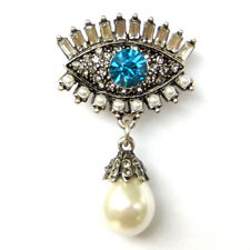 Blue Evil Eye Lashes Good Luck Protection Sparkle Crystal Pearl Brooch Pin Gift